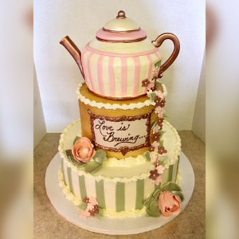 Bridal Shower Cake With A Tea Party Theme