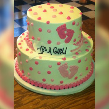2 Tier White Cake With Pink Polka A Dots And Foot Prints